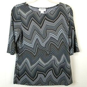 Carmen Marc Valvo Stretch Knit Blouse Half Sleeve
